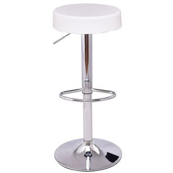 1 PC Bar Stool Round Leather Seat Chrome Leg Adjustable Hydraulic Swivel White