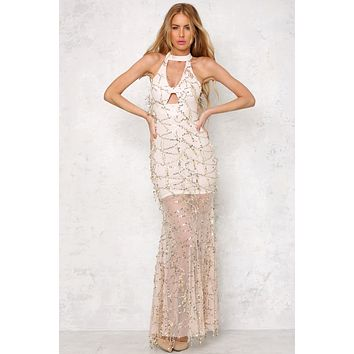 Fashion Hollow Halter Sleeveless  Gauze Tassel Sequin Maxi Dress