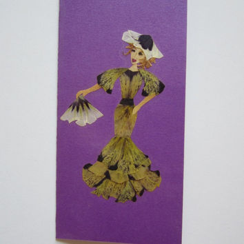 "Handmade unique greeting card ""Bon voyage"" - Pressed flowers greeting card - Unique gift - Art card - Original collage art."