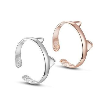 TINYSAND Womens 925 Sterling Silver with 18K Rose Gold Plated Kitty Cat Ears Paws Midi Knuckle Adjustable Stackable Open Ring