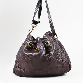 "Christian Dior Eggplant Purple Leather ""Cannage"" Quilted Shoulder Bag"