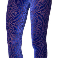 Blue burned velvet leggings size medium