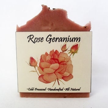 Rose Geranium Handmade Soap - Cold-Processed - Bar Soap - Palm Oil Free -All Natural - Rose Soap