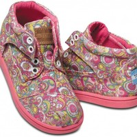 TOMS Shoes Pink Paisley Ankle Boots Botas Tiny Kids,