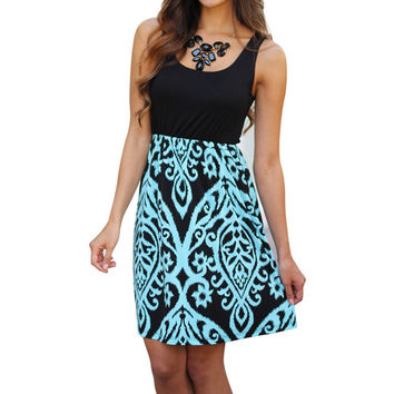 Fashion Sleeveless Party Black and Aqua Printed Short Mini Women Dress Sleeveless Vestidos Dress Beach Dress  SN9