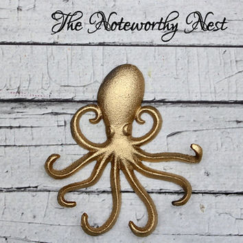 Gold Cast Iron Octopus // iron Octopus decor / bathroom decor // nautical decor // octopus // beach decor // pool decor // gold decor