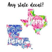 Lilly Pulitzer State Home Decal with Heart Lilly Inspired Decal Any State, Sticker,  Car decal, Lilly Pulitzer Yeti decal Custom Decal