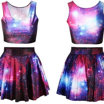 Fashion Women's purple galaxy Digital Print Reversible Crop Top + Skirt 2 pieces vintage Clubwear Party (Size: M, Color: Multicolor) = 1945855812