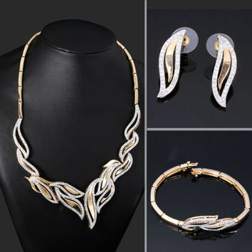 Unique Geometric design Wedding Jewelry 2-Tone color Rhodium Gold Zircon Choker Necklace Set Luxury Bridal jewelry for women