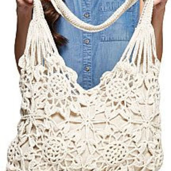 Floral Crochet Hobo Bag