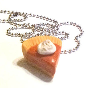 Classic Pumpkin Pie Slice Necklace, Polymer Clay Food Jewelry, Fall
