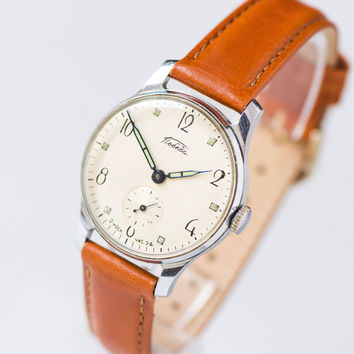 Classical men's watch Pobeda. Vintage men watch mid century. Mechanical men watch minimalist. Limited edition watch. Premium leather strap