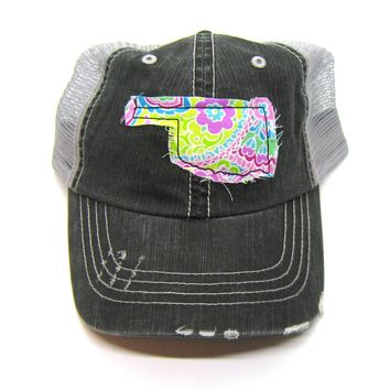 Oklahoma Hat - Black and Gray Distressed Trucker Hat - Bright Pastel Paisley Applique - All United States Available