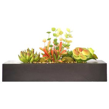 """8"""" Tall Succulents Artificial Indoor/ Outdoor Faux Décor in Wooden Planter"""