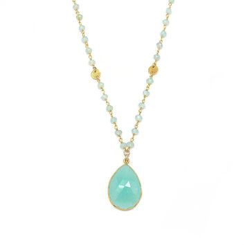 Aqua Chalcedony Long Pendant Necklace