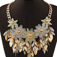 Light Blue Beaded Floral And Leaves Necklace