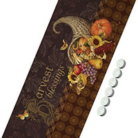 """Manual Woodworkers SHB36 Harvest Blessings Fall 36"""" Table Runner with 6-Pack Tea Candles"""