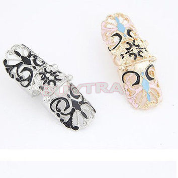 Fashion Punk Rock Enamel Full Finger Armor Joint Knuckle Hollow Out Ring POP