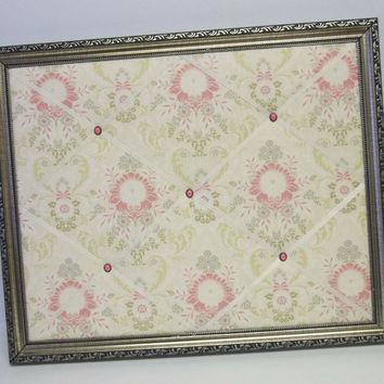 Juliet Damask fabric Ornate Pewter Framed French Memo Board