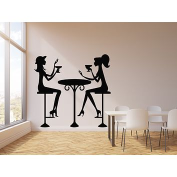 Vinyl Wall Decal Fashion Girls Drinks Cocktail Glass Cafe Decor Stickers Mural (g936)