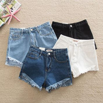 2016 Women's Summer Shorts Fringed Denim Jeans Sexy High-Waist Skinny Fit Stretch Cotton Brand Ripped Hole Casual Short Pants