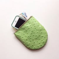 Prickly Pear Pouch • Cactus Zipper Pouch • Bright Green Leather iPhone Pocket • Zipper Pouch • Ostrich Embossed