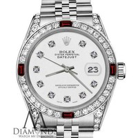 Unisex Rolex 36mm Datejust White Color Dial with Ruby & Diamond Accent Watch