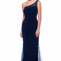 KC131563 One Shoulder Navy Prom Dress by Kari Chang Couture