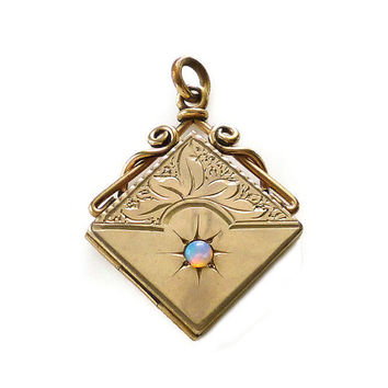 Victorian Locket, Opal Gemstone, Gold Filled, Embossed Design, Antique Jewelry