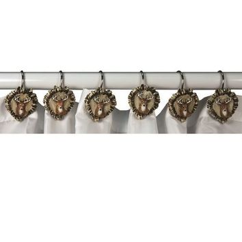 Rivers Edge 12 Piece Antler and Deer Shower Curtain Hooks