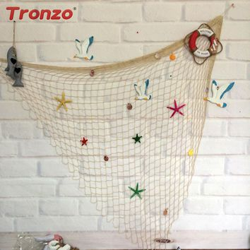 Tronzo Mermaid Party Fishing Net Summer Party White Blue Shell Starfish Hanging Fishing Net Beach Party Decoration Wall Decor