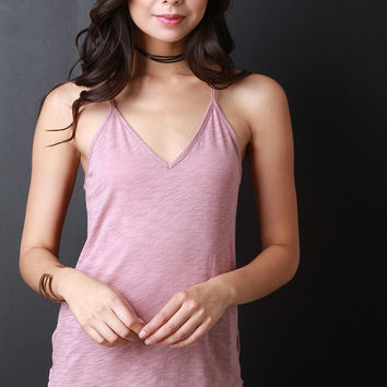 Round Hem V-Neck Racer Back Top