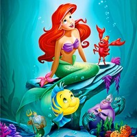 Canvas Art The Little Mermaid Poster Little Mermaid Princess Wall Stickers Fairy Tale Wallpaper Mural Kids Christmas Decor #2574
