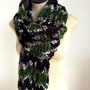 READY TO SHIP. Men's Crochet Camouflage Scarf. Men's Fashion Accessory. Chunky Camouflage Scarf