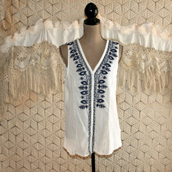 White Hippie Summer Top Crinkle Gauze Long Tunic Shirt Sleeveless Cotton Blouse Black Embroidered India Boho Medium Large Womens Clothing