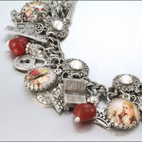 Silver Charm Bracelet, Alice In Wonderland Jewelry, Red Hearts, White Rabbit, Mad Hatter | Luulla