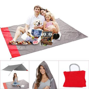 Portable Camping Mat With Pocket Folding Waterproof Outdoor Picnic Beach Mat Baby Play Blanket