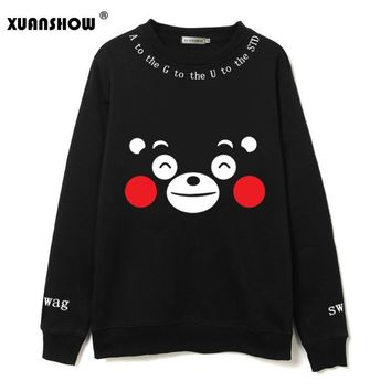 XUANSHOW Women's Sweatshirt Kawaii Kumamoto Bear Printed Black Color Cute Cartoon Fleece Kpop Team Fans Clothing Hoodies