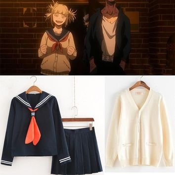 Anime Boku no Hero Academia My Hero Academia himiko toga cosplay costume JK uniform suit and Sweater cardigan