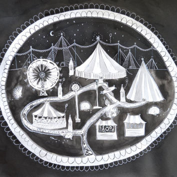 Original Night Carnival Ink Painting, Carousel, Circus Tents at Night, Large Black & White Painting, gothic carnival, monochrome fairground,