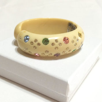 Weiss Celluloid Clamper Bracelet, Fruit Salad Rhinestones, Cream Clamper Bracelet, 1950s, Vintage Jewelry