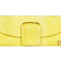 Yellow Python Snakeskin Clutch Bag