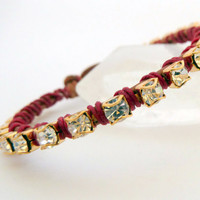 Rhinestone friendship bracelet /brown / red / brass