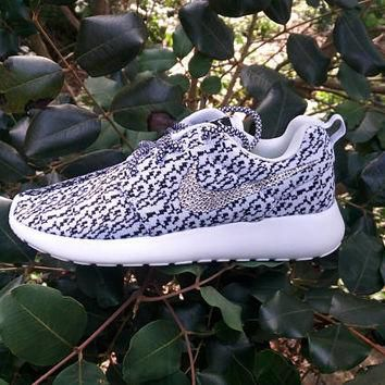 custom nike roshe run yeezy 350 printed womens athletic shoes blinged with swarovski c