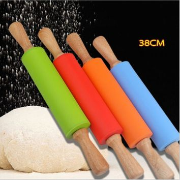 38CM Kitchen Accessories Wooden silicone Rolling Pin Fondant Cake Decoration Dough Roller Baking Cooking Tools free shipping
