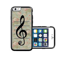RCGrafix Brand Vintage Floral Music Note Treble Clef iPhone 6 Case - Fits NEW Apple iPhone 6