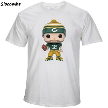New Style Men's Summer T-Shirt, Packers Fans Green Bay 12 Aaron Rodgers Cartoon Figure Picture Printing Classical O-neck T Shirt