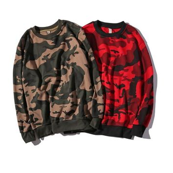 Autumn and winter camouflage men s clothing plus fat plus code loose round neck dress on the head long-sleeved clothing trend jacket sweater men