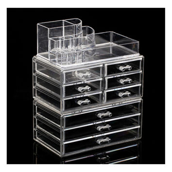 Makeup Cosmetics Jewelry Organizer Clear Acrylic 9 Drawers Display Box Storage