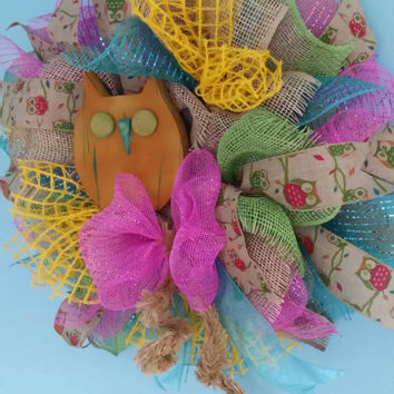 Owl Nursery Whimsical Owl Wreath Spring Wreath Baby Girl Nursery Bright Owl Decor Summer Front Door Wreath Wooden Owl Decor Summer Deco Mesh